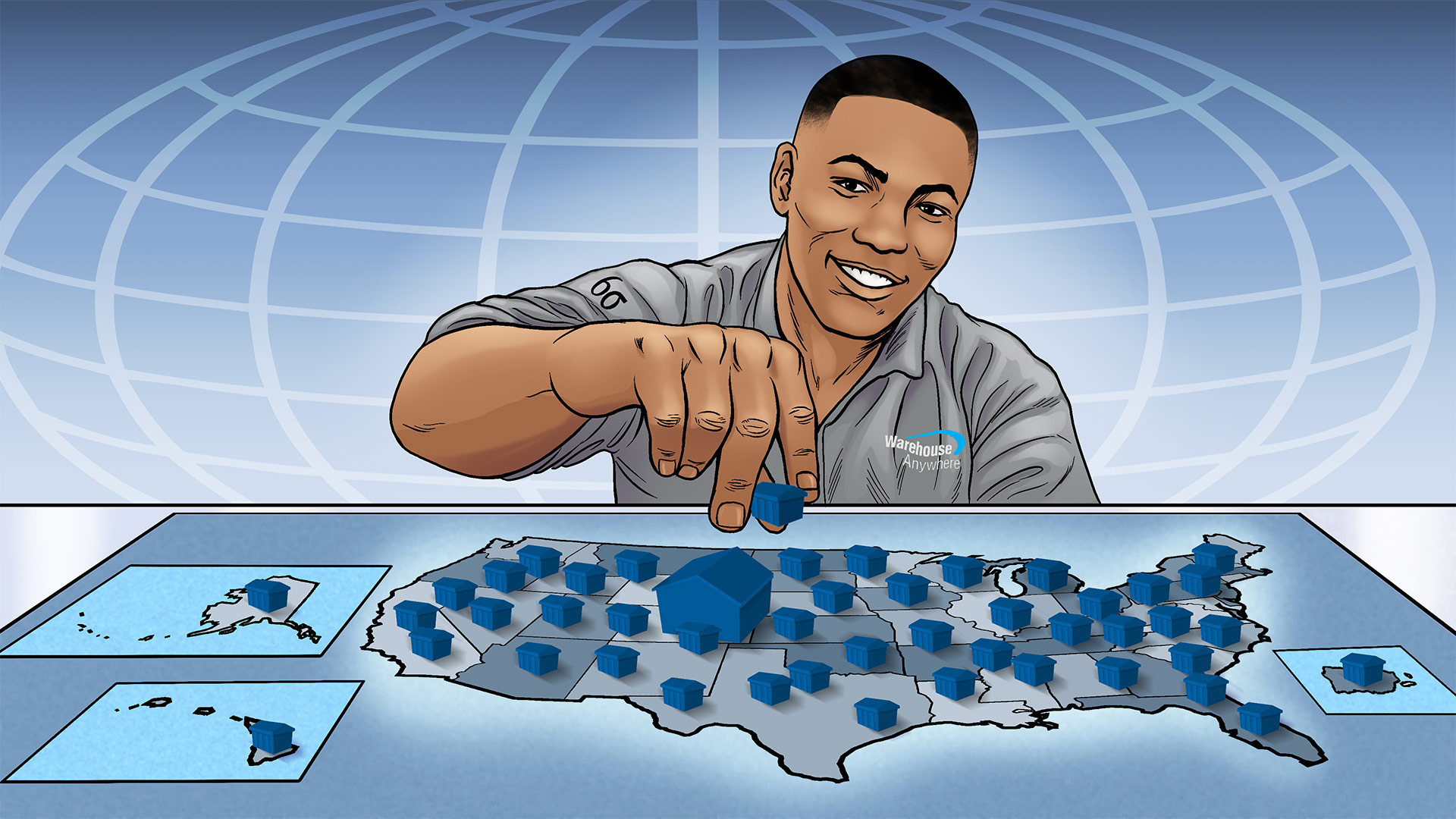 Chris moving decentralized warehouses and placing them strategically on a map of the US.