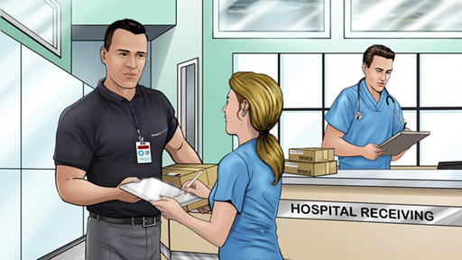 Steve delivering a medical device to a hospital reception area. A female doctor is signing for the parcel.