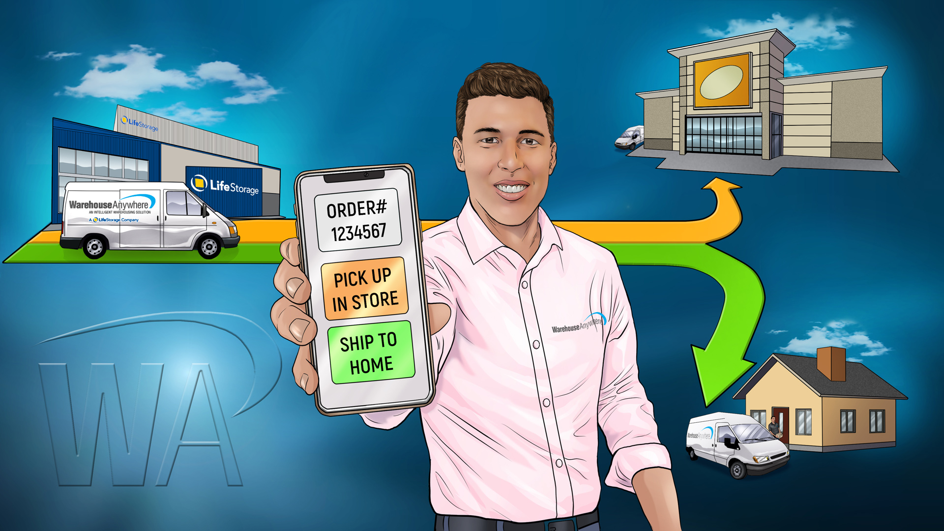 Alex holding a mobile phone with options for in-store pickup or home delivery. In the background, the Warehouse Anywhere van is making a delivery to a store and to a home
